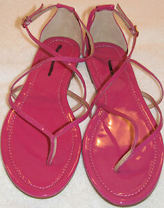 ab2ddc7a491 Details about J Crew Audra Sandals 8.5 flat HOT PINK strappy Patent Leather  Sandal NWoT!!