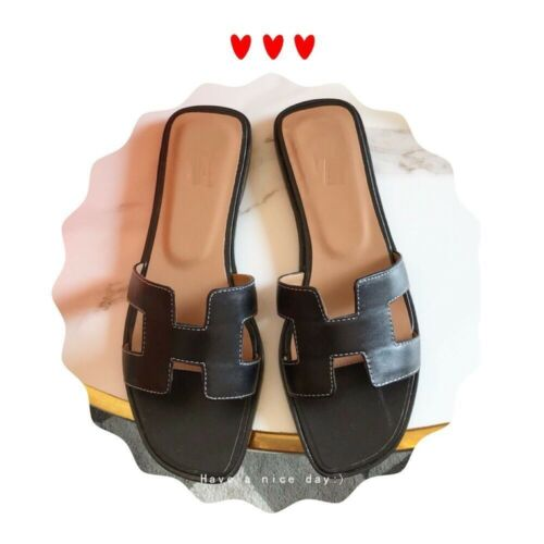 Women/'s Flat Sandals Real Leather Summer Beach Slippers