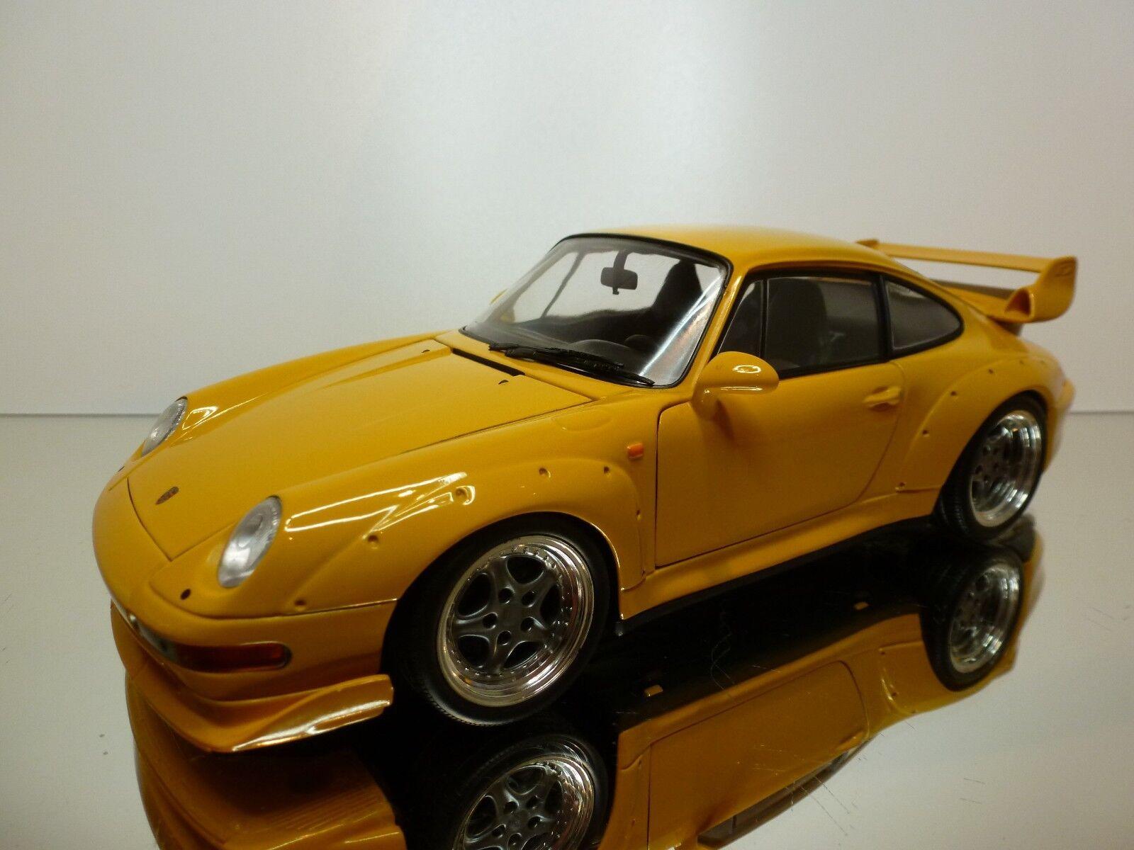 UT MODELS PORSCHE 911 GT 1997 - amarillo 1 18 - VERY GOOD CONDITION