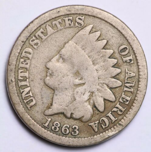 VERY GOOD 88/% COPPER COIN 1863 INDIAN HEAD CENT PENNY CIRCULATED GRADE GOOD