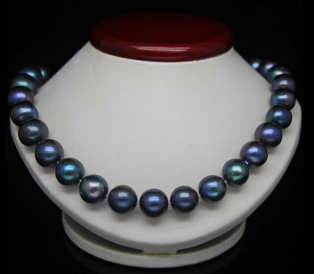 REAL BEAUTIFUL 18''10-11MM TAHITIAN BLACK BLUE NATURAL PEARL NECKLACE 14K