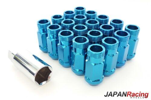 ++JAPAN RACING+ 45mm STAHL LUG NUTS M12 x 1.5 Radmuttern  BLAU JR-Wheels offen