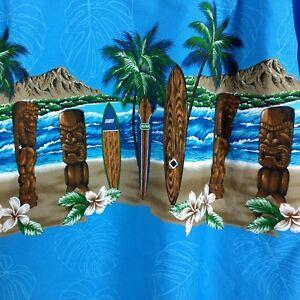 b0a277561 FAVANT Mens L Hawaiian Shirt Carved TIKI Diamond Head Surfboards ...