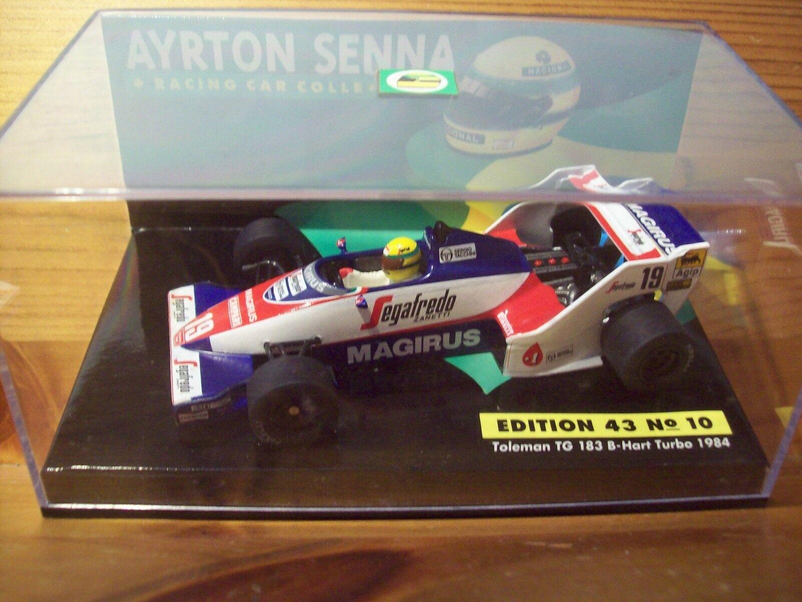 1 43 Ayrton Senna No No No 10 Toleman tg183-b HART TURBO 1984 + Pochette 6c7885