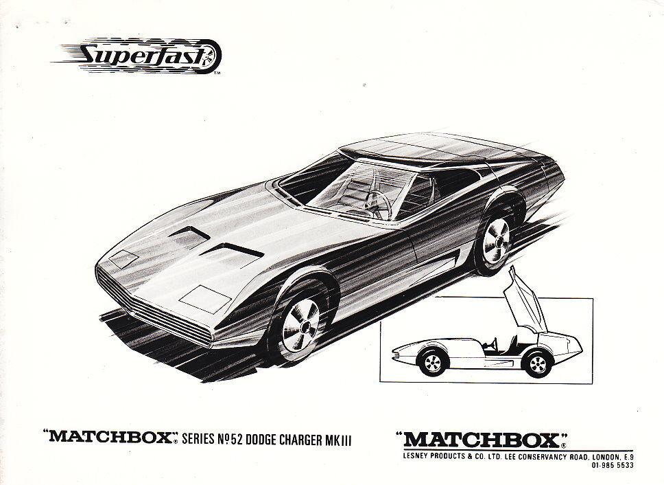 MATCHBOX News superfast juin 1970 superfast News 52a Dodge Charger avec s & w photo c6331e