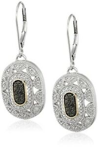 Fashion-Silver-and-14k-Yellow-Gold-black-Gemstone-Art-Deco-Earring-Jewelry