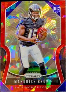Marquise-Brown-RC-2019-Panini-Prizm-Red-Cracked-Ice-Refractor-341-CENTERED