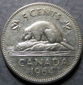 Vintage-1964-CANADA-5-CENTS-COIN-Very-Fine-Circulated-Nice-Coin
