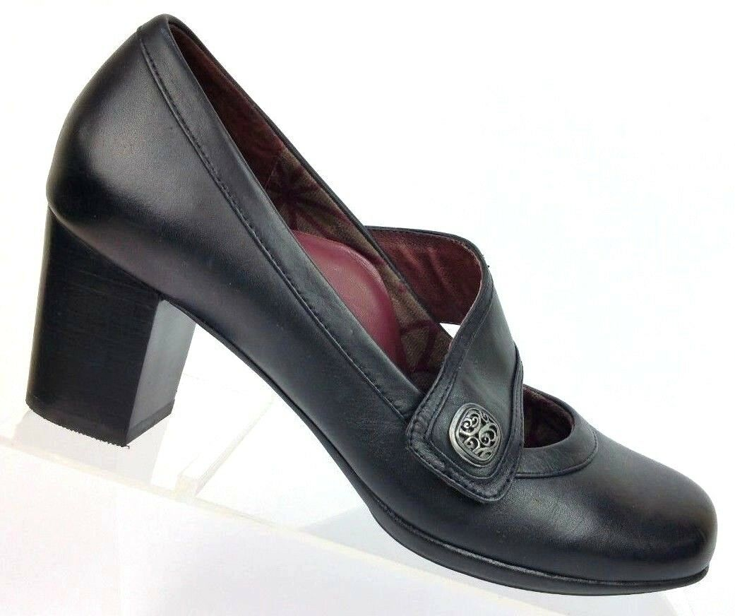 Abeo B.I.O. System Ophelia Black Leather Mary Jane Heel shoes Women's 7 N