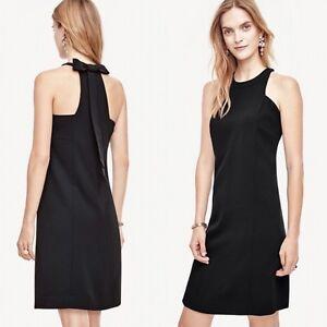 Ann-Taylor-Woman-039-s-Size-0-XS-Black-Bow-Back-Shift-Dress-159-00-H