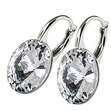 925 Sterling Silver Leverback Earrings Rivoli Clear Crystals from Swarovski®