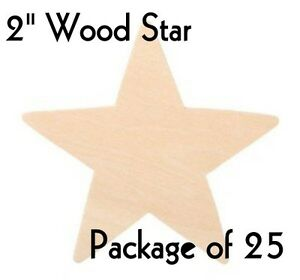STAR-2-034-SOLID-Wood-Cutout-Craft-Shape-Unfinished-Lot-of-25-by-PLD