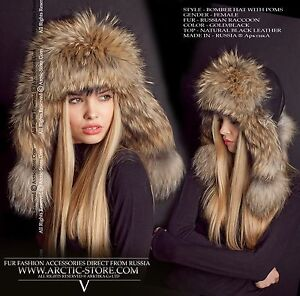 a601caada1a1b Details about Bomber fur hat - Russian raccoon - Leather top variations -  Made in Russia