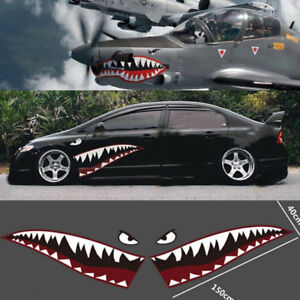 Details About 2pc Shark Mouth Eyes Stickers Car Leftright Door Vinyl Decal 59 Inch Universal