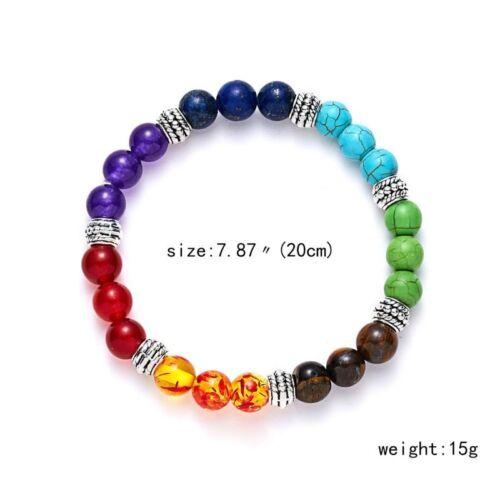 Retro 7 Chakra Natural Lava Stone Healing Beaded Bracelet Cuff Bangle Yogo Gift