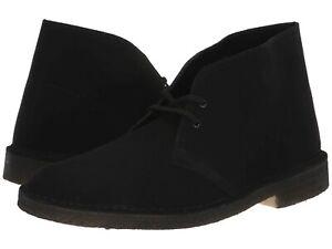 Uomo-Scarpe-Clarks-Originals-Desert-Boot-Chukkas-38227-neri-in-pelle-scamosciata