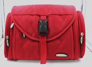 332986e17c7a New Travelon Quilted RED Train Case Travel Cosmetic Bag Makeup Case ...