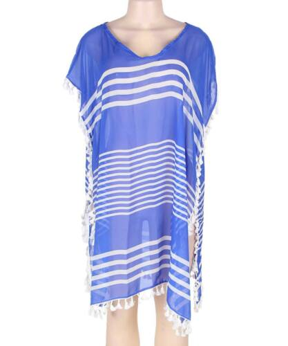 UK Women Blue Stripe Chiffon Beach Dress Cover Up Summer Wear Swimwear Kaftan