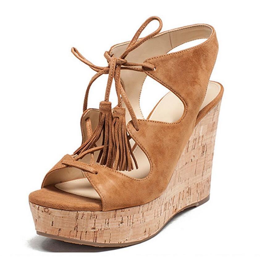 donna Lace Up Platform Wedge High Heel Clog Slingback Sandals Open Toe scarpe