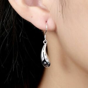 New-Jewelry-925-Sterling-Silver-Plated-Zirconia-Water-Drop-Dangle-Hook-Earring