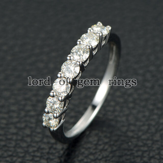 3mm Round 0.72ct Charles & Colvard Moissanite 14K White Gold Wedding Band Ring