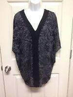 Fluxus Kimono Tunic Top In Camo Black Burnout Size Xs S