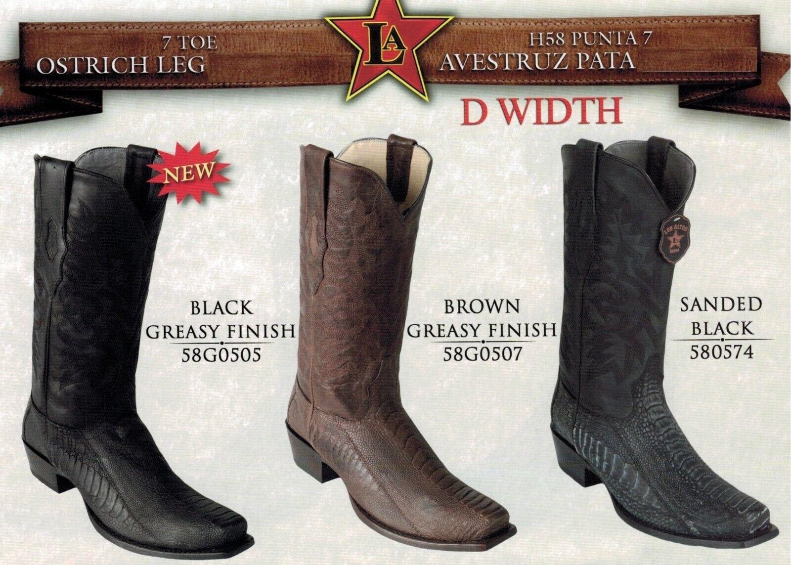 Los Altos Men's 7 Toe Leather Pull Up Exotic Ostrich Leg Cowboy Western stivali