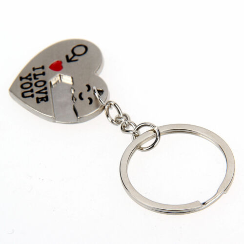 Cute Arrow /& I Love You Heart /& Key Couple Chain Ring Keyring Keyfob Lover Gift