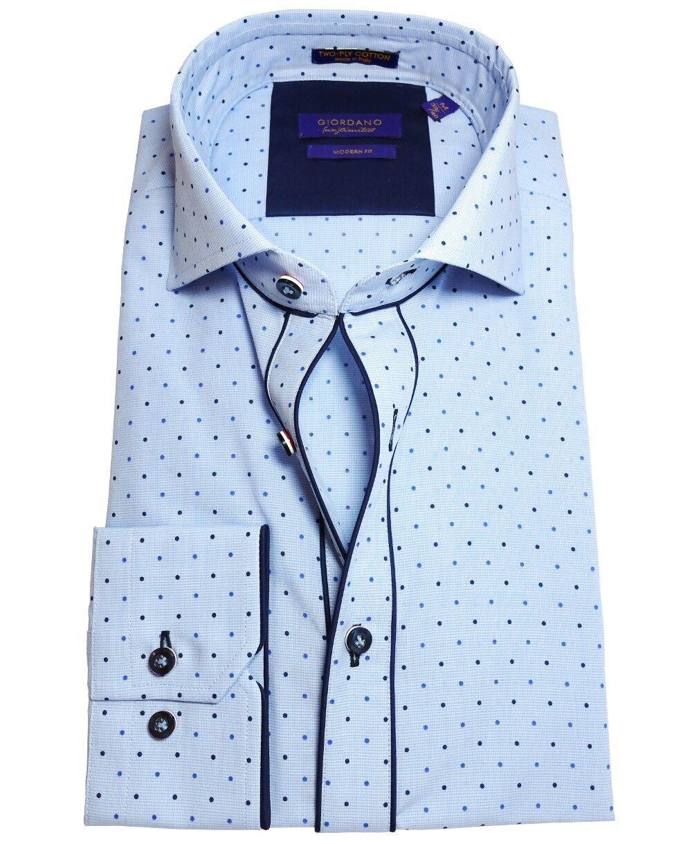 Giordano Modern Fit Langarmhemd in hellblau Punktdessin blau Gr. M und XL