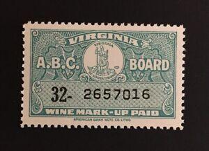 Virginia State Revenue - Wine Tax #W61 - OG - Mint, Never Hinged (MNH) - VA