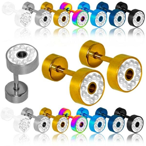 1 Paar Fakeplugs Perlen Button Piercing Tunnel Ohrstecker Ohrring 8mm Edelstahl Auswahlmaterialien