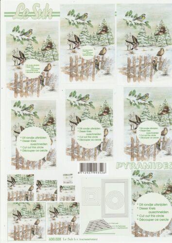 Feuille 3D Pyramides à découper A4 630-028 Paysage Hiver Decoupage Sheet Winter