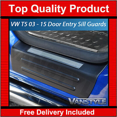 GENUINE VW T5 TRANSPORTER 2PCS DOOR ENTRY GUARD SILL PROTECTOR KICK PLATE COVER