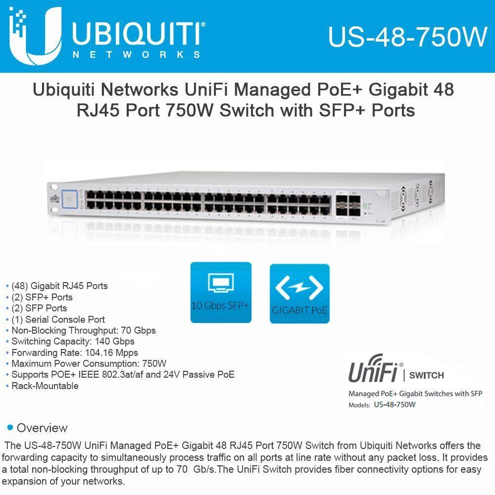 Details about Ubiquiti US-48-750W UniFi Managed PoE+ Gigabit 48 RJ45 Port  750W Switch with SFP