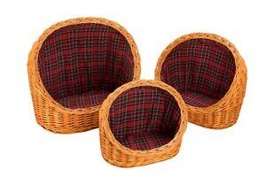Lit confortable en rotin pour animaux de compagnie en paille W and S Wickers - Petit, Moyen, Grand