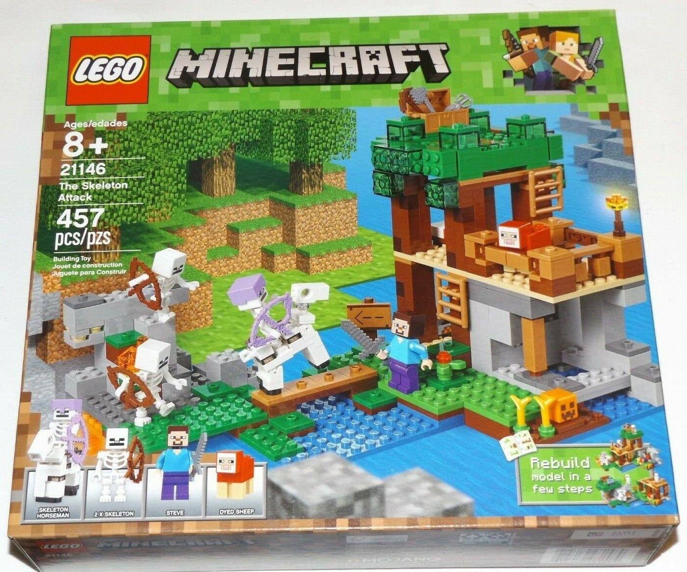 Lego 21146 el Ejército Esqueleto ataque Minecraft jinete Steve teñido de ovejas