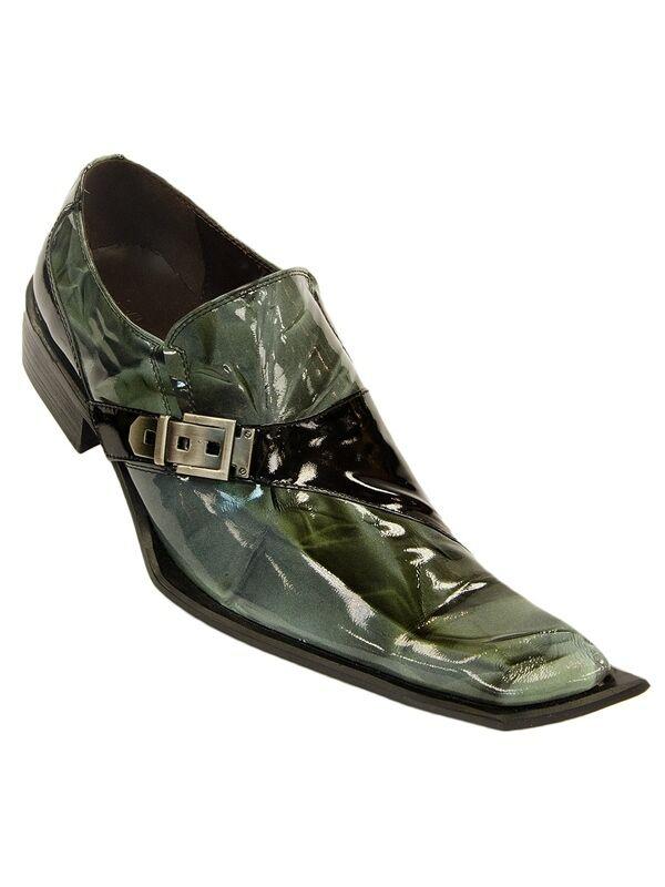 Zota Men Black Green Marbelized Leather Italian Design Angular Toe Slip On Shoe