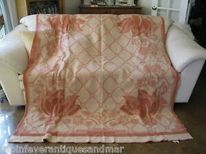 Vintage Art Deco Mission Brick Creme Floral Reversible ORR Wool Blanket 64x84