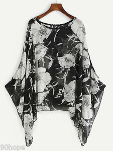 UK-Ladies-Oversized-Waterfall-Chiffon-Floral-Loose-Kimono-Top-Blouse-16-18-20-22