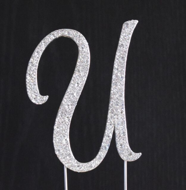 new style rhinestone crystal monogram letter u wedding cake topper 5 x 35 in