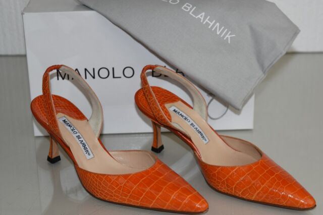 0bd69b526f05c $5400 NEW Manolo Blahnik CAROLYNE 70 Slings Orange ALLIGATOR CROCODILE SHOES  36