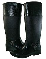 Michael Kors Womens Mk Croco Tall Harness Pull On Knee High Rain Boots
