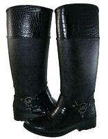 Michael Kors Womens Mk Croco Tall Harness Pull On Knee High Rain Boots