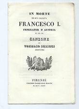 Libro In Morte di Maestà Francesco I Imperatore Austria Canzone Tommaso Sgricci