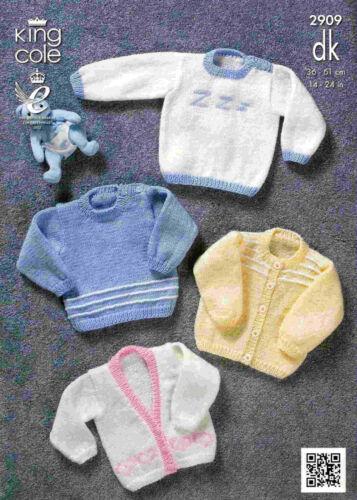 "King Cole Knitting Pattern 2909~Sweaters /& Cardigans~DK~14-24/"""