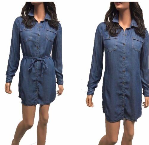 Women/'s Denim Chambray  Long Sleeve Denim Lightweighted  Dress Shirt S-2XL