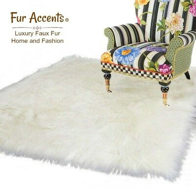 Thick White Shag Rug, Quality Faux Fur, Sheepskin,rectangle Throw Rug, Soft, Usa Op Reis