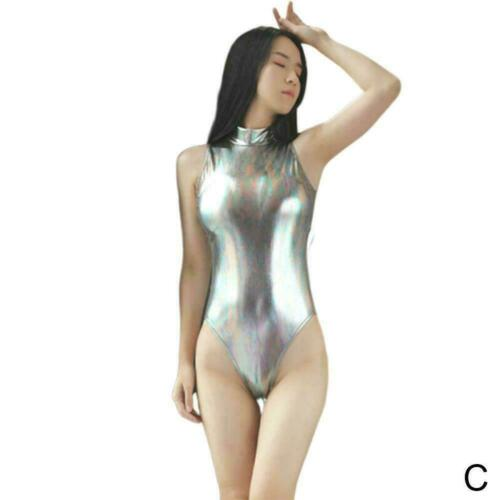 Fashion Women Faux Leather Bodysuit Zipper Wet Look Leotard Swimwear Metall S6I7