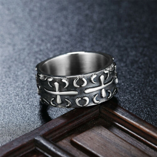 Details about  /10MM Men/'s Celtic Cross Ring Stainless Steel Vintage Carving Style Cross Ring