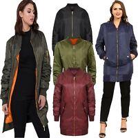 Womens Ladies Long Line Classic Vintage Padded Aviator Bomber Jacket Coat Top
